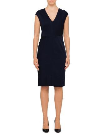 S/S V-Neck Tailored Dress