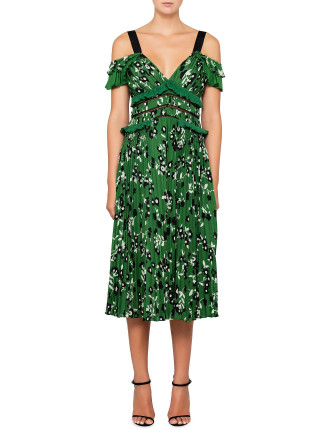 cold shoulder floral printed dress in green