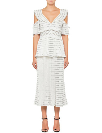 monochrome stripe dress