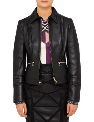 Emb Leather Jacket