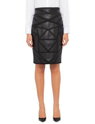 Geometric Leather Skirt