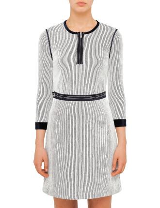 Long Sleeve Dress With Velvet Trim