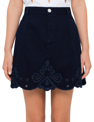 Denim Skirt With Broderie