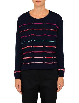 MULTI KNIT WITH THIN STRIPE