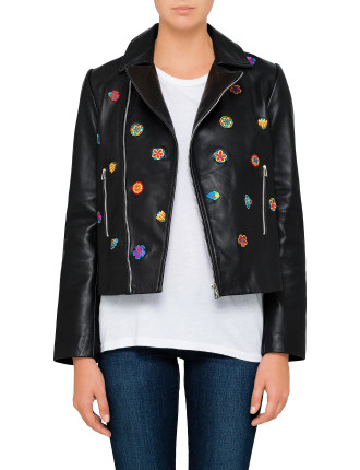 EMBRODIERED LEATHER BIKER JACKET