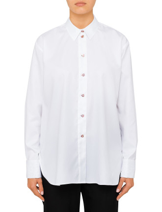 LONGERLINE SHIRT WITH FISH BUTTONS