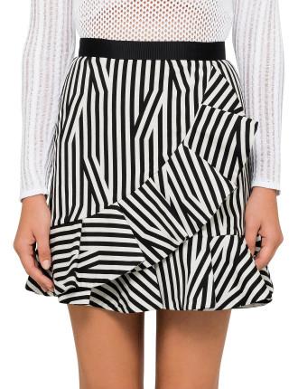 Abstract Stripe Ruffle Skirt