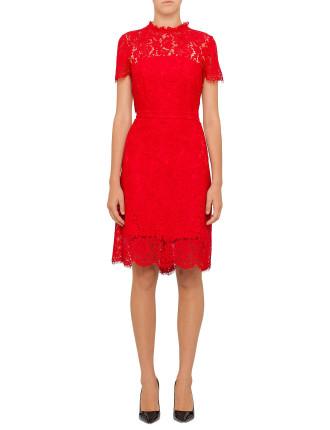 Dvf Alma Short Sleeve Lace Dress