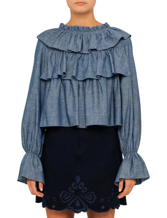 Embellished Chambray Layered Top