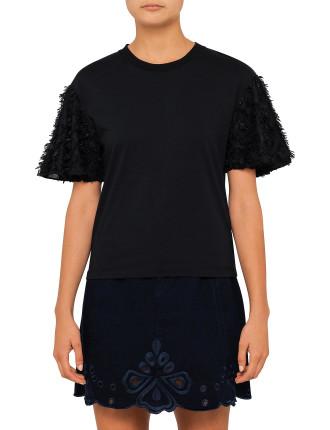 Embellished Daisy Flutter Sleeve T-Shirt