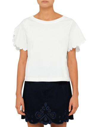 Embellished Scalloped Sleeve T-Shirt