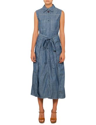 Embellished Chambray Dress