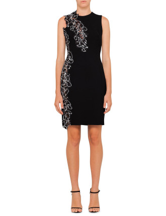 Black Cady Dress With Embroidery