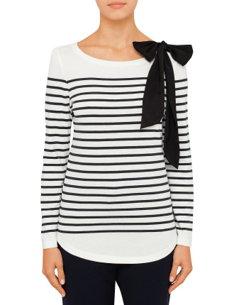 Trocadero Stripe T-Shirt With Bow