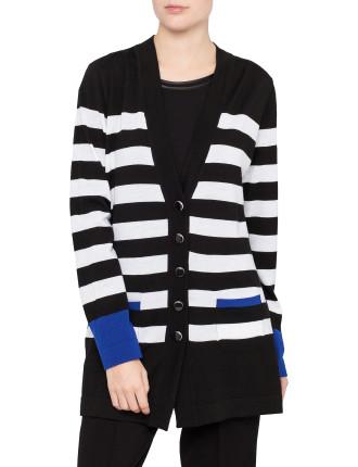 Wool Block Stripe Cardigan