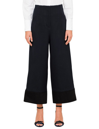 Military Wide Leg Pant W Button Detail