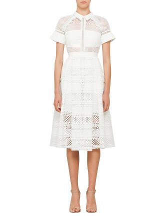 Raglan Detail Midi Dress White