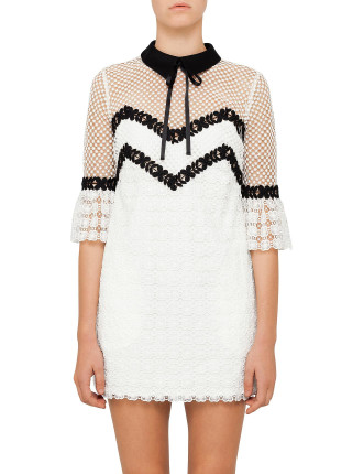Petal Monochrome Mini Dress