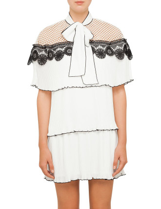 Monochrome Pleated Gazar Dress