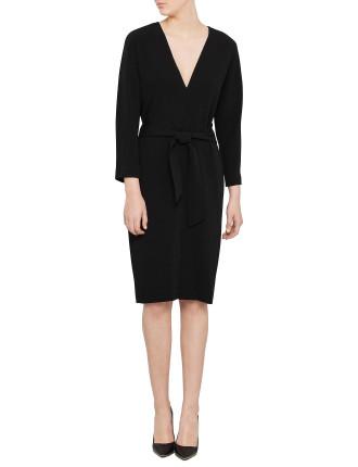 Olivia Drape Shoulder Dress With Tie