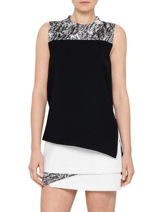 Resin Print Drape Dress