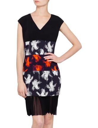 Orchid Print Pleat Bottom Dress