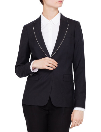 Contrast Piping Single Button Jacket