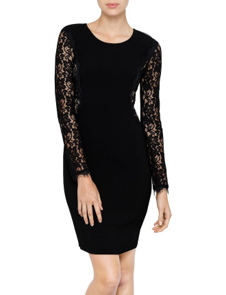 India Lace Insert Stretch Dress