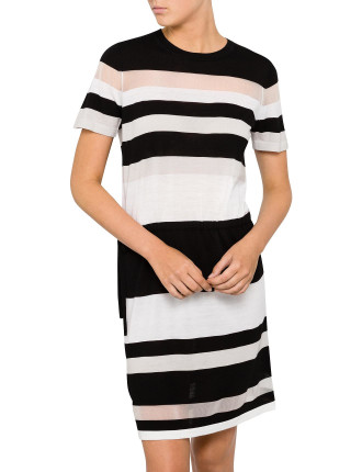 Stripe Sheer Panel Dress
