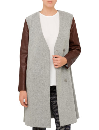 Queennel Leather Sleeve Coat