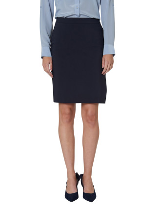Tech Pique Side Button Pencil Skirt