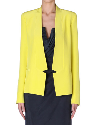 Citrus Silk Elliptical Collar Blazer