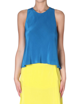 Teal Silk Crepe De Chine Cross Back Tank