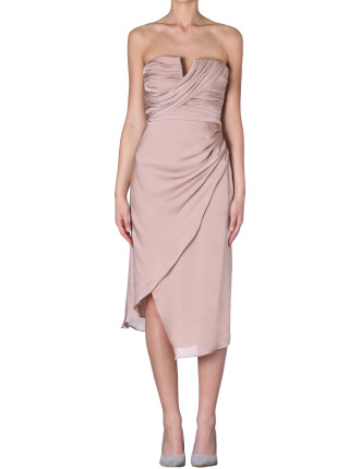 Musk Silk Satin Georgette Rosebud Dress