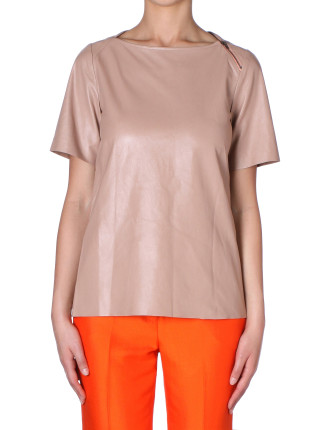 Blush Faux Leather T Shirt