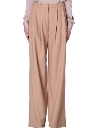 Camel Wool Wide Leg Pant