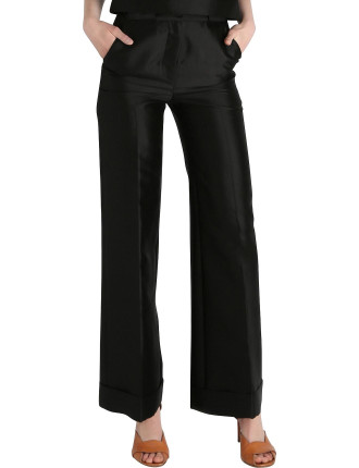 Black Silk Dupion Fouette Pant