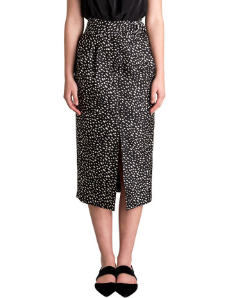 Spot Silk Wool Aviatrix Skirt