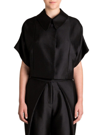 Black Cotton Silk Wreathe Jacket