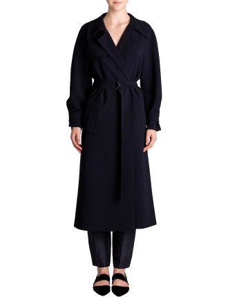 Midnight Crepe Promenade Coat