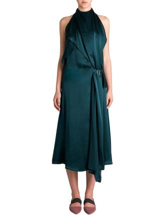 Petrol Silk Iris Dress
