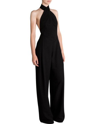 BLACK CREPE CHANDALIER JUMPSUIT