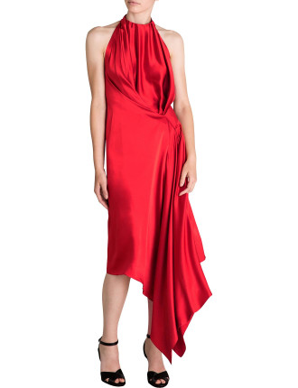 CRIMSON SILK SATIN ISABELLA DRESS