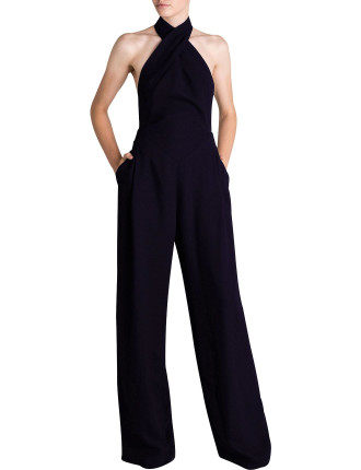 NAVY CREPE CHANDELIER JUMPSUIT