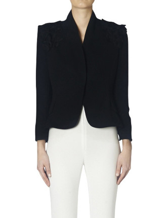 Black Crepe Hourglass Jacket