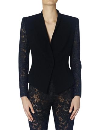 Black Ribbon Lace Straight Laced Jacket