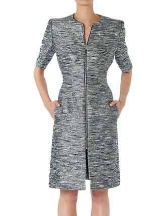 Platinum Tweed 5th Ave Coat Dress