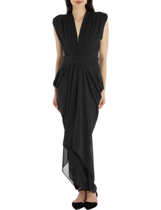 Black Georgette Waterfall Dress