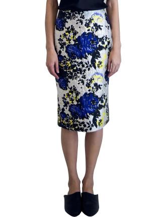 Bold Floral Brocade Slim Line Skirt