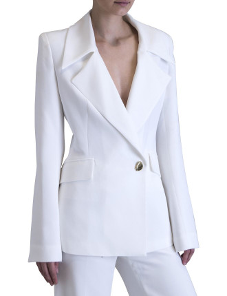 White Crepe Tailored For Her Jacket